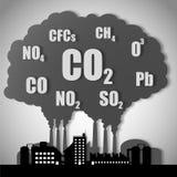 Przemysłowe fabryki zanieczyszczają środowisko Zdjęcia Stock