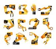 Przemysłowe mechaniczne ręki fabrykują technologia zgromadzenie wyposażenia wektoru set ilustracji