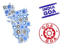 Przemysłowego składu Goa stanu Grunge i mapy Wektorowi znaczki ilustracji