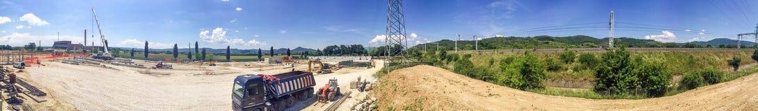 Przemysłowej budowy panoramiczny widok fotografia stock