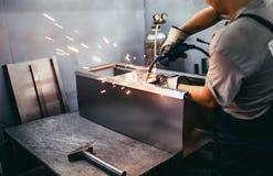 Przemysłowej pracy spaw fotografia stock