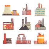 Przemysłowi fabryczni budynki ustawiający Nowożytne elektrownie, manufaktura budynków kolorowe wektorowe ilustracje royalty ilustracja