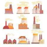 Przemysłowi fabryczni budynki ustawiający Nowożytnych elektrowni kolorowe wektorowe ilustracje ilustracja wektor