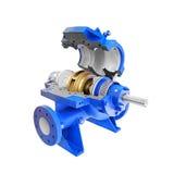 Przemysłowi naciska pompa wodna dla zimnej wody dostawy, przygotowany, otwarty dla utrzymania i naprawy pojedynczy białe tło obrazy royalty free