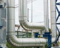 Przemysłowi rurociąg w elektrowni łatwości Zdjęcia Stock