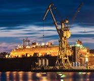 Przemysłowi tereny stocznia w Szczecińskim w Polska, wysoki reso obrazy stock