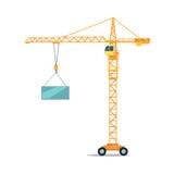 Przemysłowy Żółty Dźwigowy Podnośny Ciężki Szklany element ilustracja wektor