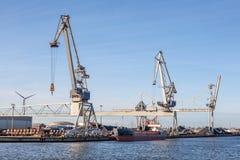 przemysłowy żurawia port Fotografia Royalty Free