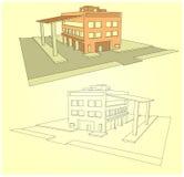 Przemysłowy budynek w 3d stiile royalty ilustracja