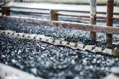 Przemysłowy cynować drut Skąpanie z stopionym lutem fotografia stock