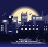 Przemysłowy Europejski rocznik projektujący miasto, podróży łódź i seagulls na jaskrawym błękitnym zmierzchu tle, royalty ilustracja