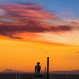 Przemysłowy komin przy wschodem słońca w Paterna Hiszpania fotografia royalty free