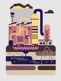 Przemysłowy krajobraz z rośliny i fabryki budynkami Obrazy Stock