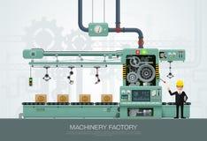 Przemysłowy maszynowej fabryki budowy wyposażenie konstruuje ve ilustracji