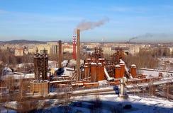 Przemysłowy Nizhny Tagil Widok od Łysych Fox gór Fotografia Royalty Free
