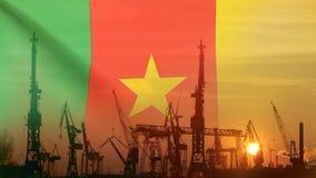 Przemysłowy pojęcie z Cameroon flaga przy zmierzchem zdjęcie wideo