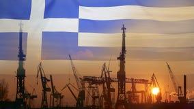 Przemysłowy pojęcie z Grecja flaga przy zmierzchem zdjęcie wideo