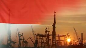 Przemysłowy pojęcie z Indonezja flaga przy zmierzchem zbiory wideo