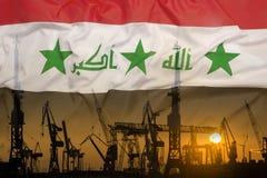 Przemysłowy pojęcie z Irak flaga przy zmierzchem Fotografia Royalty Free