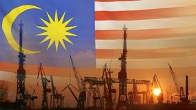 Przemysłowy pojęcie z Malezja flaga przy zmierzchem zbiory wideo