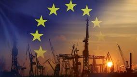 Przemysłowy pojęcie z UE flaga przy zmierzchem zbiory