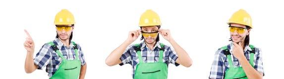 Przemysłowy pracownik odizolowywający na białym tle ilustracji