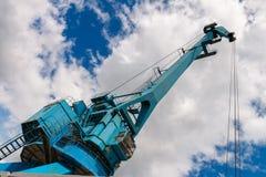 Przemysłowy stocznia żuraw w Moskwa, Rosja Obrazy Stock