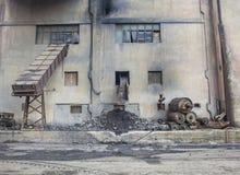 Przemysłowy teren kopalni węgla budynek fotografia stock