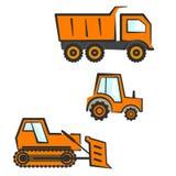 Przemysłowy transportu set Dozer, ciągnik, dumper Zdjęcia Royalty Free
