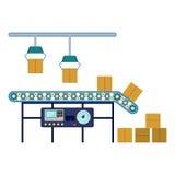 Przemysłowy wyposażenie dla pakować pudełka, maszyneria kreskowego zgromadzenie konwejer royalty ilustracja
