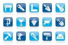 Przemysłu budowlanego i narzędzi ikony Fotografia Stock