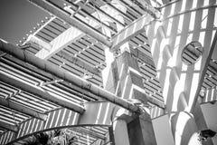 Przemysł, forged stalowa struktura, metalu dach z metali barami i Zdjęcia Royalty Free