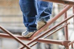 Przemysłowego pracownika robotnik na rusztowaniu Fotografia Stock
