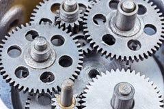 Przemysłowy metali gearwheels mechanizm Makro- widok Obrazy Royalty Free