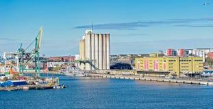 Przemysłowy port Sztokholm Obraz Royalty Free