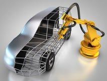Przemysłowy robot z samochodem ilustracja wektor
