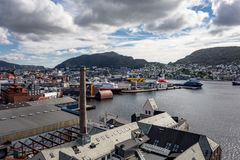 Przemysłowy schronienie Bergen miasto w Norwegia Obraz Stock