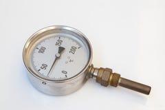 Przemysłowy termometer w metalu Obrazy Stock