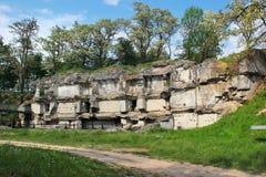 Ruins of Fort XIII San Rideau in Przemysl, Poland. Przemysl, Poland - May 5, 2018: Ruins of Fort XIII San Rideau, part of fortifications around Przemysl Stock Photos