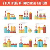 Przemysłowi fabryczni budynki - 9 wektorowych ikon w płaskim projekcie projektują Obrazy Royalty Free