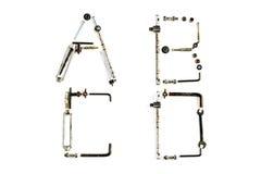 Przemysłowy metalu abecadła list A, b, C, d odizolowywający Obrazy Royalty Free