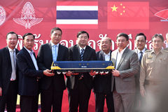 Przeniesienie ceremonia Elektryczna lokomotywa stan kolej Tajlandia Obraz Royalty Free