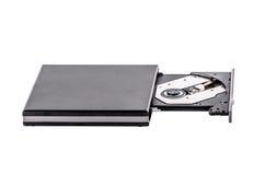 Przenośne urządzenie cd DVD palnika szczupły zewnętrznie pisarz odizolowywający na bielu obraz royalty free