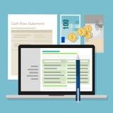 Przepływu gotówki oświadczenia księgowości oprogramowania pieniądze kalkulatora zastosowania laptop ilustracja wektor