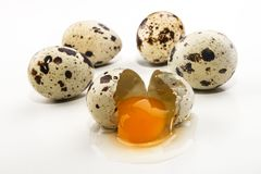 Przepiórek jajka i otwarty jajko na jaskrawym tle Fotografia Royalty Free