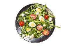 Przepiórek jajka sałatkowi na talerzu Zdjęcia Stock