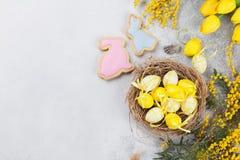 Przepiórek jajka w gniazdeczka i koloru żółtego kwiatach dostępny karciany Easter eps kartoteki powitanie Zdjęcie Royalty Free