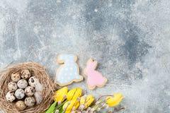 Przepiórek jajka w gniazdeczka i koloru żółtego kwiatach dostępny karciany Easter eps kartoteki powitanie Obrazy Stock