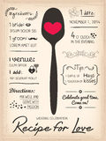 Przepis dla miłości kreatywnie Ślubnego zaproszenia Zdjęcie Stock