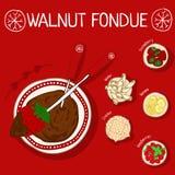 Przepis dla orzecha włoskiego fondue z składnikami Fotografia Royalty Free